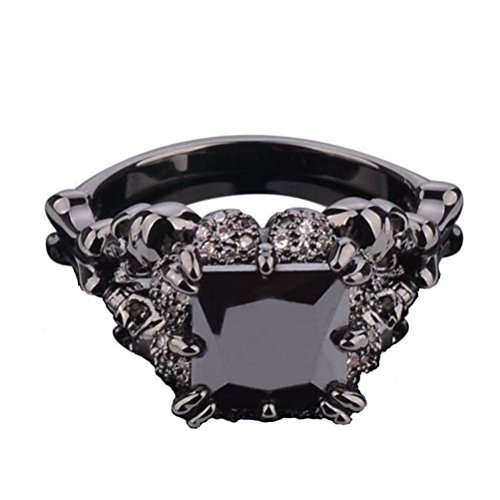 Superhai Black Skull Ring Unisex Stainless Steel Dragon Claw Cubic Zirconia Black Claw Gothic Band Cool Party