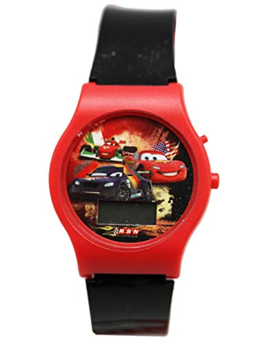 (Pixar Disney Cars Lightning McQueen Red/Black Band Kids Digital Dial Watch)