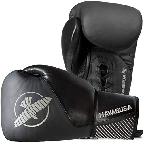 Hayabusa Classic Black Lace up Leather Boxing Gloves 16oz