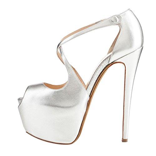 Coolcept Femmes Mode Peep Toe Stiletto Sandales Plateforme Haute Talons De  Mariage Robe De Soirée Nuptiale