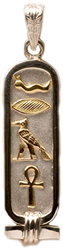 (Discoveries Egyptian Imports - Personalized Sterling Silver Cartouche with 18K Gold Symbols - 1-Sided Custom Pendant - Made in Egypt - Size: Medium)
