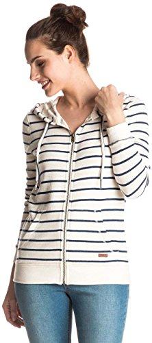 (Roxy Junior's Signature Stripe Full Zip Fleece Hoodie, Marshmallow, S)