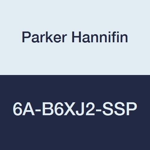 Parker Hannifin 6A-B6XJ2-SSP Series B6X Series Stainless Steel 3-Way Ball Valve, PCTFE Seat, PTFE Seal, 3/8'' A-LOK Port
