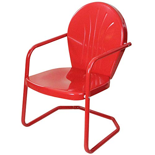 Outdoor Retro Metal Tulip Armchair, Red