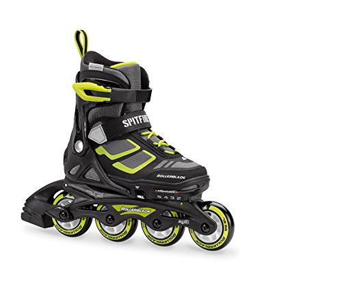 Rollerblade Spitfire XT Boy s Adjustable Fitness Inline Skate, Black and Lime, Junior, Youth Performance Inline Skates