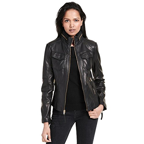 Wilsons Leather Womens Web Buster Designer Brand Front Zip Leather Jacket W/Hig Black ()