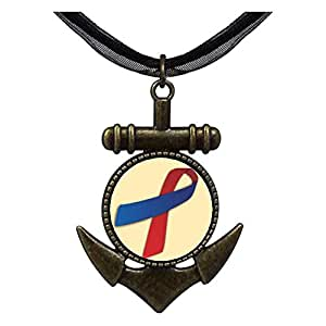Chicforest Bronze Retro Style blue with red Aids Ribbon Anchor Pendant