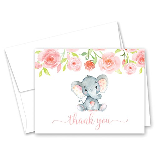 50 Pink Watercolor Floral Elephant Baby Shower Thank You Cards + Envelopes]()