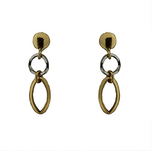 18k Two Tone oval dangle earring by Amalia