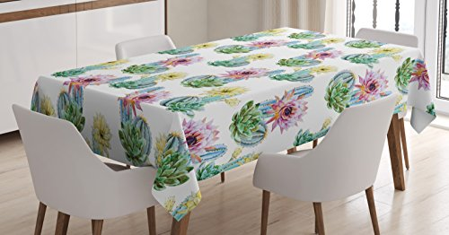 Desert Table Cactus (Cactus Decor Tablecloth by Ambesonne, Hot Desert South Mexican Vintage Plant Cactus Flowers with Spikes , Dining Room Kitchen Rectangular Table Cover, 60 W X 84 L Inches, Pink Green and Blue)