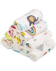 BelleStyle Mousseline washandjes babyhanddoeken, van natuurlijk biologisch katoen, zachte pasgeboren babyhanddoek en mousseline washandjes voor de gevoelige huid, 10 stuks