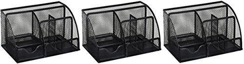 Greenco Mesh Office Supplies Desk Organizer Caddy, 6 Compartments, Black (3 Pack) by Greenco