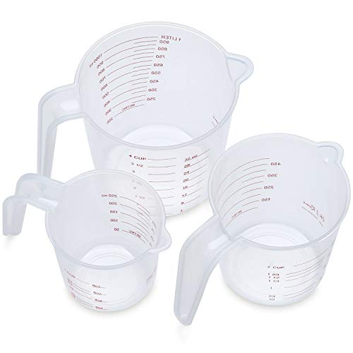Holoras 3Pcs Plastic Measuring Cup Clear Measuring Jug Set: 1000ml & 500ml & 250ml Nesting Stackable Container for Measure Liquid and Baking Items, Kitchen Lab Use