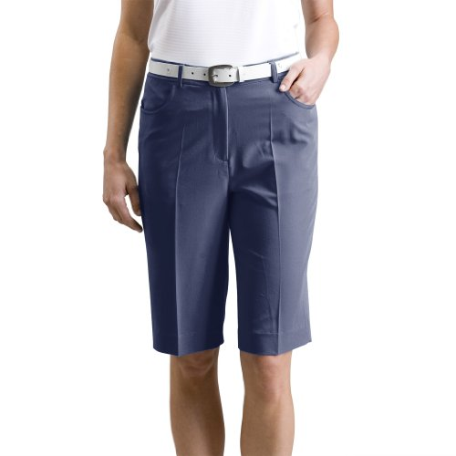 Monterey Club Ladies Stretchable Bermuda Shorts #2835 (Navy, Size:12)