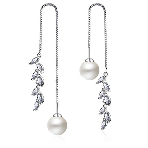 - 925 Sterling Silver Pearl Long Dangle Drop Earring for Women Crystal Moon Star Charms (Twist Wave 5mm Pearl)