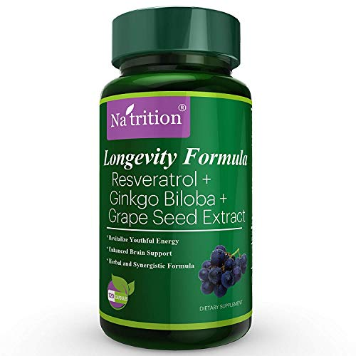 Na'trition Longevity Formula, Trans-Resveratrol 150mg, Ginkgo Biloba Extract (Leaf) 120mg, and Grape Seed Extract 150mg, 120 Easy Swallow Veggie Capsules, 1.25 Month ()