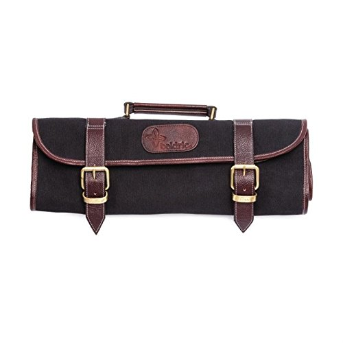 Boldric Black Canvas Roll 9 Slot Knife Bag