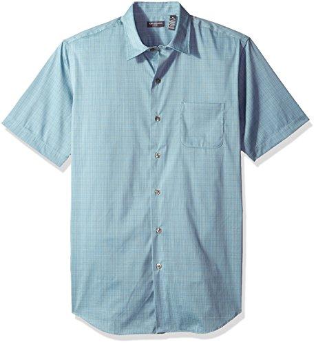 Van Heusen Men's Flex Stretch Short Sleeve Non Iron Shirt, Light Aqua Citadel, - Out Citadel