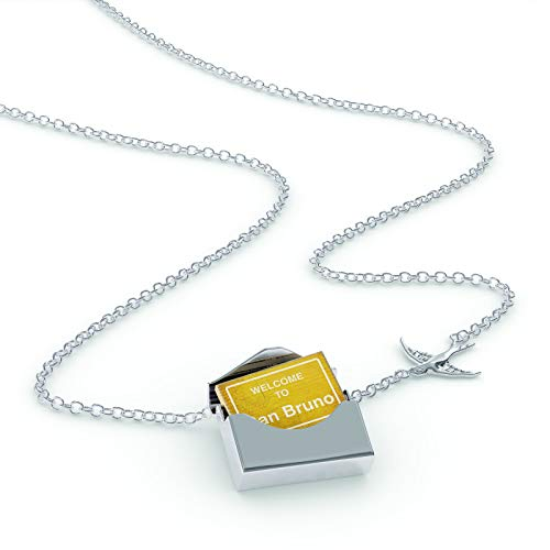 NEONBLOND Locket Necklace Yellow Road Sign Welcome to San Bruno in a Silver ()
