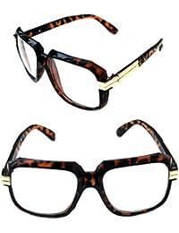 4b05dde9ef MEN S Hip Hop 80 s Gazelle Vintage Polished Brown Tortoise Gold Frame Clear  Lens Eye Glasses 607