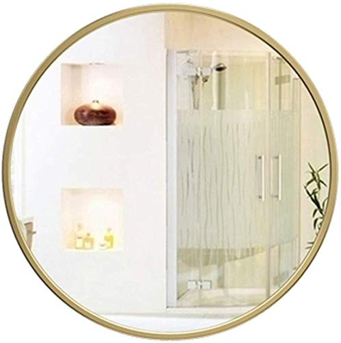 H.yina Round Wall Mirror Vintage Decorative Wall Mirror Circle Bathroom Mirror | Wall-Mounted Beauty Mirror and Shaving Mirror | Gold Metal Frame 40/50 / 60CM (Gold Circle Spiegel)