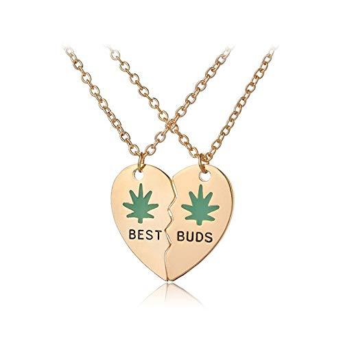 ACCTSY 2Pcs New Broken Heart Split Golden/Silver Heart Shape Pendant Necklace Best Buds Maple Leaves Best Friends Couple Necklace Golden (Best Buds Necklace Split Heart)