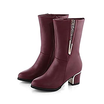 Women's Boots Combat Boots Fall Real Leather Walking Shoes Casual Zipper Chunky Heel Black Burgundy 2in-2 3/4in WKIDWX