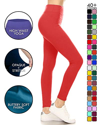 LYX128-RED Yoga Solid Leggings, Plus Size ()