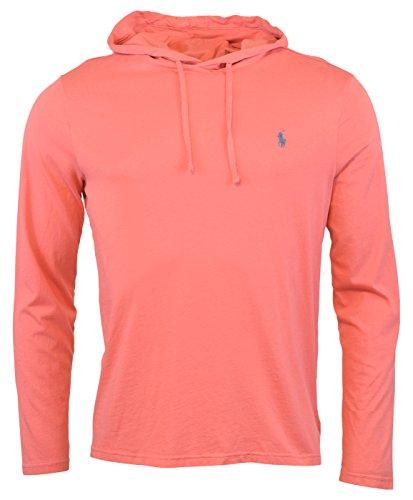 Polo Ralph Lauren Men's Jersey Knit Hoodie Long Sleeve Tee - M - Hyannis Red (Lauren Mens Fleece Ralph)