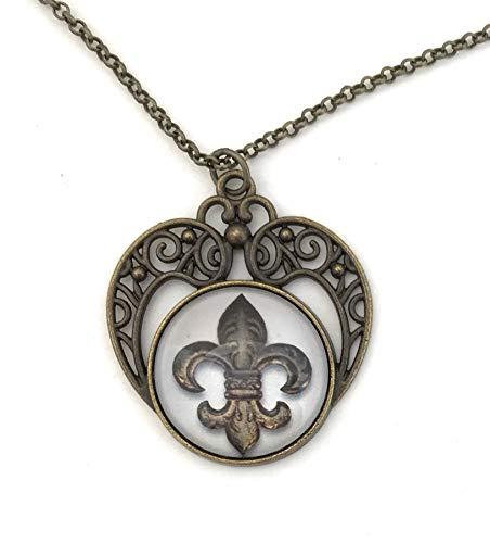 - Fleur de Lis Necklace - Heart Shaped Pendant - Handmade