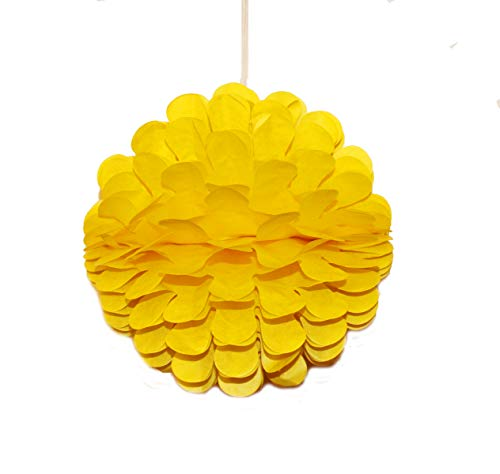 LG-Free 10Pcs 8 inch Party Honeycomb Balls Art Tissue Paper Balls Wall Decoration Backdrop Party Design Flower Balls Hanging Pom Poms Party Wedding Birthday Nursery Home Baby Shower Decor (Yellow)