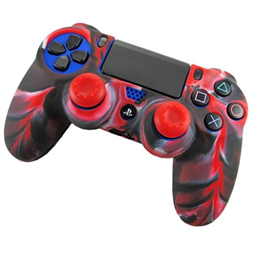 Transer Soft Camouflage Silicone Skin Cover for Playstation PS4 Controller (Red)