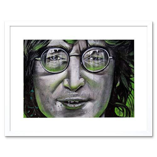 John Lennon Beatles Graffiti Spooky Art Print White Framed Poster Wall Decor 9x7 inch
