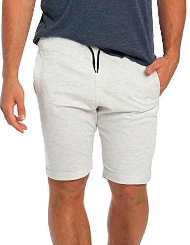Short Trim Contrast (Waveson Men's Casual Classic Fit Elastic Jogger Gym Flat Front Shorts With Contrast Drawstring Waist and Folded Trim Oatmeal Medium)