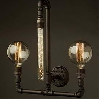 hua 16'' H Black Iron 3 Lights Pipe Wall Lamp