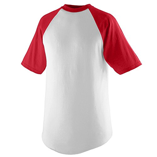 Augusta Sportswear Short Sleeve Baseball Jersey, X-Large, White/Red