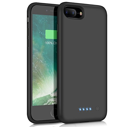 Battery Case 8500mAh, Yacikos Portable Charging Case Rechargeable Extended Battery Pack for Apple iPhone 8 Plus/7 Plus (5.5') Protective Backup Power Bank Cover Black ()