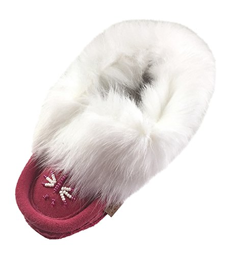 Laurentian Chief Fuchsia Suede Slippers with Rabbit Fur Collar Moccasins (Toddler/Little Kid/Big Kid) (9)