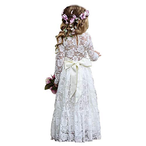 Soo Angeles Girl Fancy Lace Long Princess Dress Flower Girl Boho Rustic Wedding Party Birthday Gift Dance Ball Gown (White 6-7Y)]()