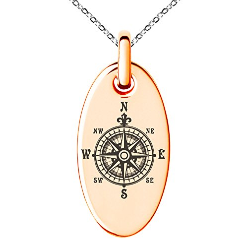 Tioneer Rose Gold Plated Stainless Steel Nautical Fleur de Lis Compass Engraved Small Oval Charm Pendant Necklace ()