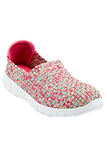 Comfortview Women's Wide Ria Woven Sneaker Pink Multi,9 Ww
