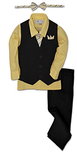 Johnnie Lene JL40 Pinstripe Boys Formal Dresswear Vest Set (18 Months, Black/Yellow) ()