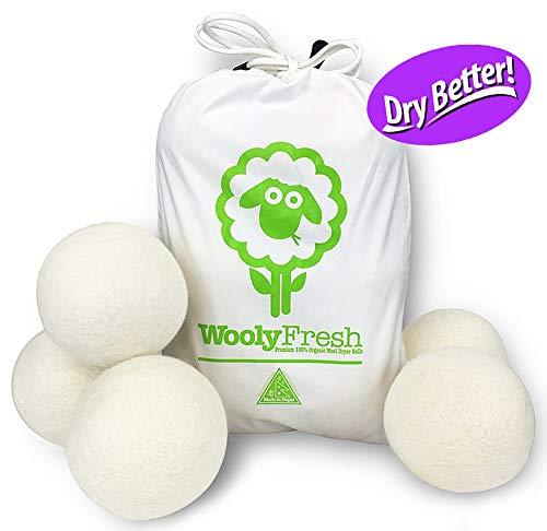 Wooly Fresh Wool Dryer Balls, 6 Pack XL Premium 100% Wool Dryer Balls, Handmade in Nepal, Long-Lasting Organic Fabric Softener & Static Reducer, Dry Better.]()