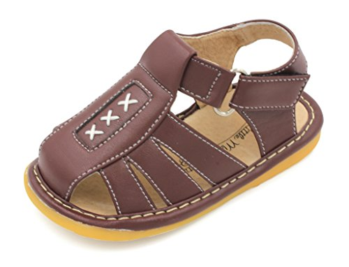 (Little MAE'S Toddler Boy Sandals   Brown Criss-Cross Closed Toe Squeaky Sandals   Premium Quality (Removable Squeakers) (3) )