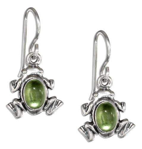 Sterling Silver Peridot Frog Earrings on French Wires