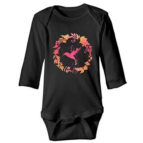 Moulton Mansfield Hummingbird Floral Wreath2 Unisex Baby Newborn Long Sleeve Onesies Bodysuits Cotton
