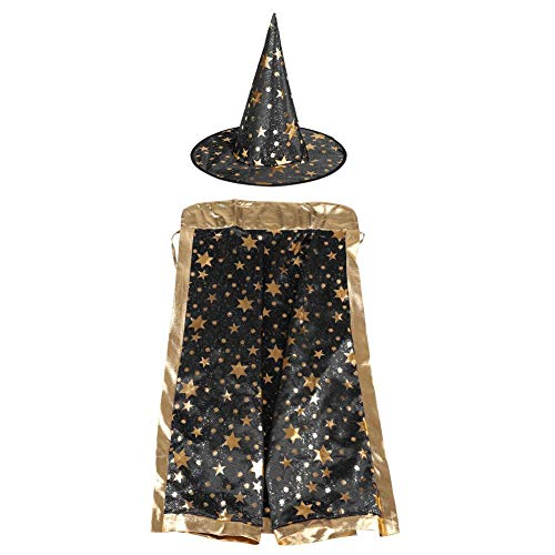 Zerodis Halloween Cloak and Hat Kids Witch Wizard Cloak Hat Set with Shinng Stars Pattern for Halloween Cosplay(Black)