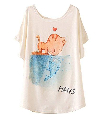 Women's Loose Short Sleeve Cat Kiss Fish Print T-shirt Top