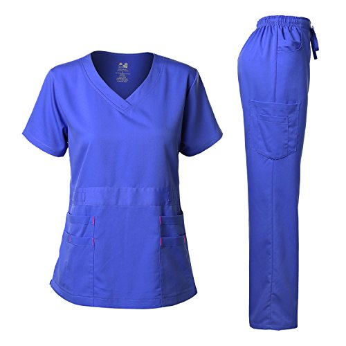 (Women's Scrubs Set Stretch Ultra Soft V-Neck Top and Pants Royal Blue S)