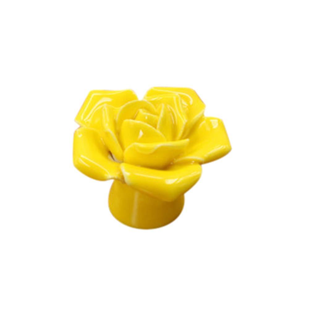 Sencillo Vida Pomos de Cerámica de Las Puertas de Cajones Armario Tira de Las Perillas Surtido Rosa Floral